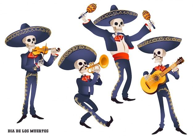 Dia de muertos. mariachi band musicien de squelettes. tradition mexicaine. Vecteur Premium