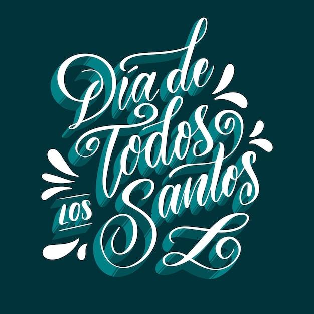Dia De Todos Los Santos Lettrage Avec Des Ombres Bleues Vecteur gratuit