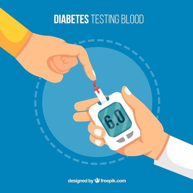 Diabète, essai, sanguine, fond Vecteur gratuit