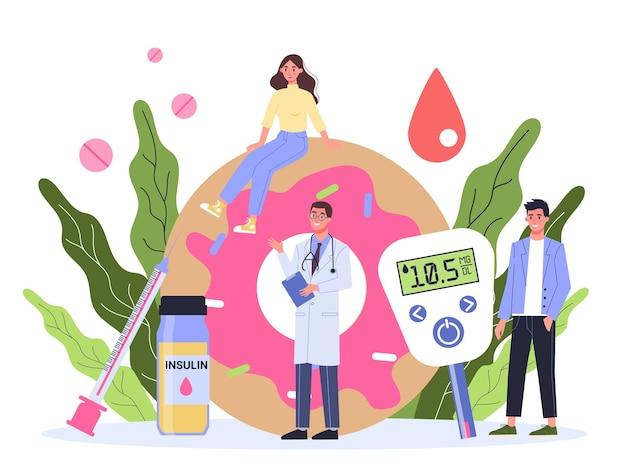 Diabète . Mesure Du Sucre Dans Le Sang Avec Un Glucomètre. Journée Mondiale De Sensibilisation Au Diabète. Idée De Soins Et De Traitement. Vecteur Premium