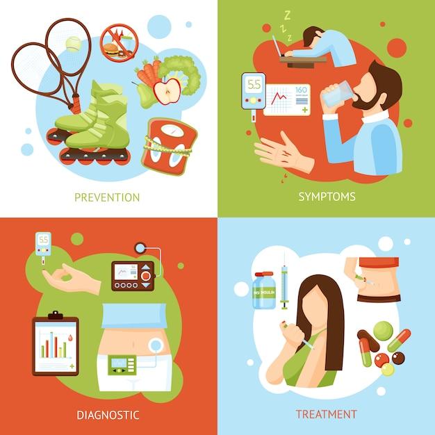 Diabète symptômes concept icônes Vecteur gratuit