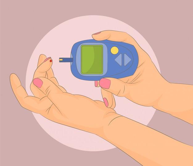 Le Diabète Vérifie La Glycémie Vecteur Premium