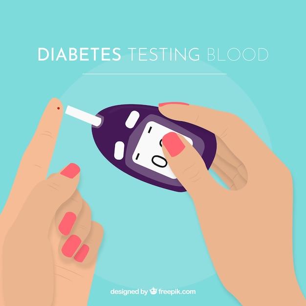 Diabétiques, tester le sang avec un design plat Vecteur gratuit
