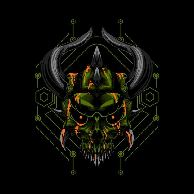 Le Diable Crâne Mal Vecteur Premium