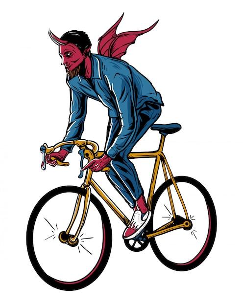 Diable, Illustration, Bicyclette Vecteur Premium