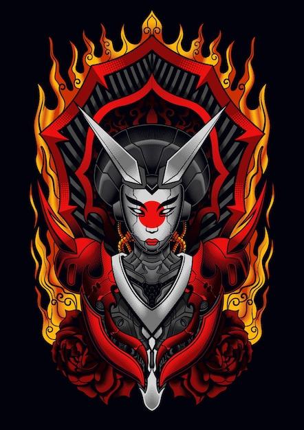 Diable Mecha Geisha Vecteur Premium