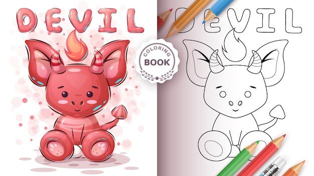 Diable Mignon - Livre De Coloriage Pour Enfant Et Enfants Vecteur Premium
