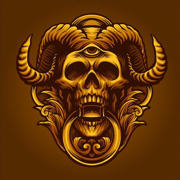 Le diable d'or Vecteur Premium