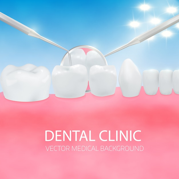 Diagnostic des dentistes. Vecteur Premium