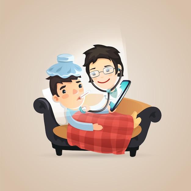 Diagnostic en ligne des médecins Vecteur Premium