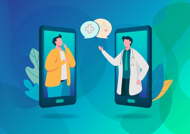 Diagnostic en ligne. Vecteur Premium