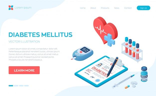Diagnostic médical - diabète. diabète sucré de type 2 et production d'insuline. Vecteur Premium