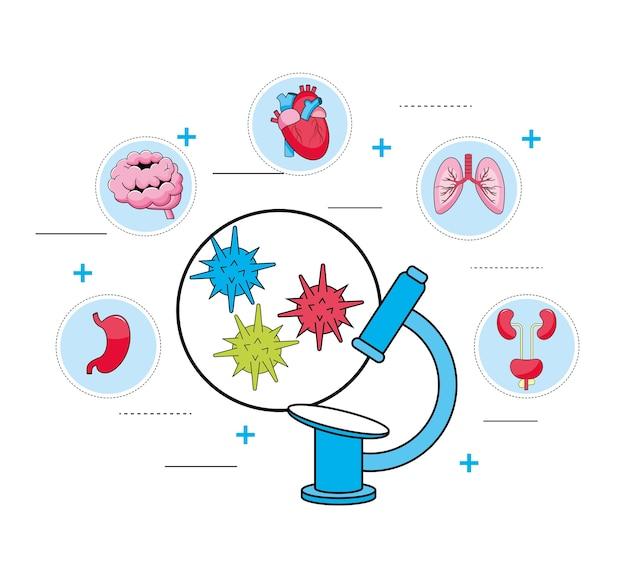 Diagnostic microscopique et traitement médical Vecteur Premium