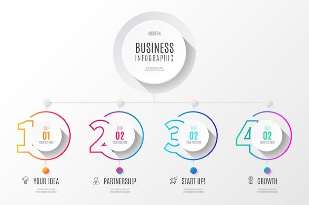 Diagramme d'affaires coloré infographie avec des nombres Vecteur gratuit