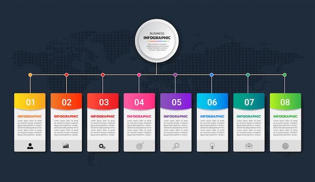 Diagramme coloré infographie 8 options vecteur Vecteur Premium