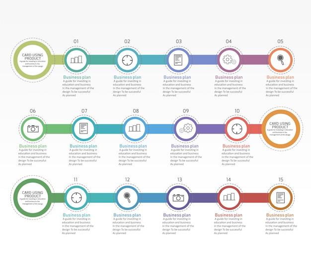 Diagramme de l'éducation. il y a 15 étapes, vecteurs d'utilisation de niveau dans la conception Vecteur Premium