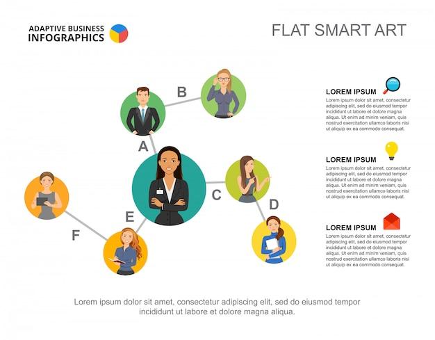 Diagramme de hiérarchie business infographie pour concept de personnel d'entreprise. Vecteur gratuit