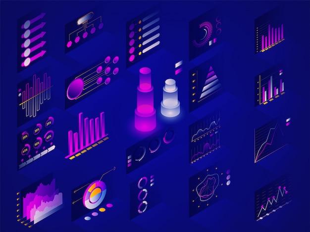 Diagramme d'infographie, graphique et graphique. Vecteur Premium