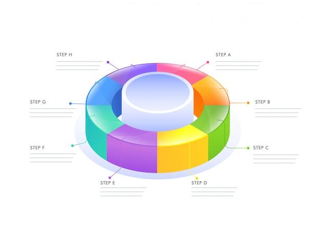 Diagramme infographique circulaire 3d pour modèle d'affaires Vecteur Premium