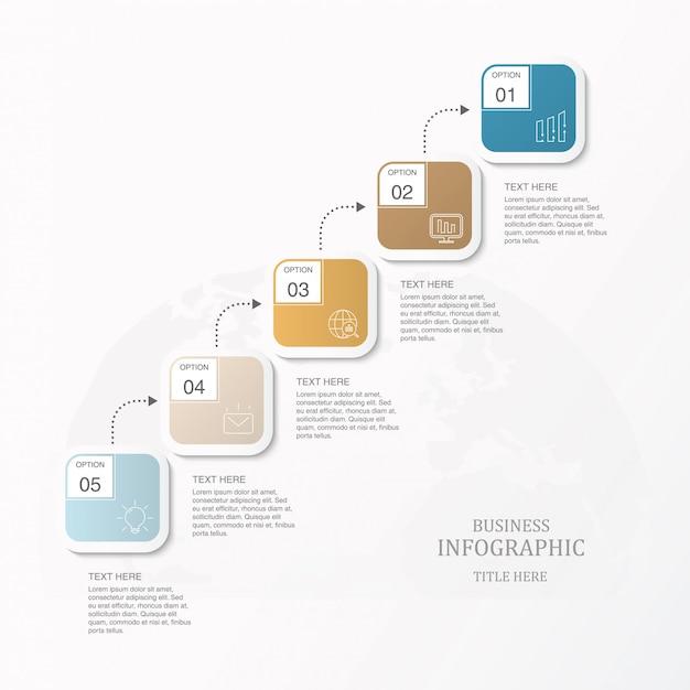 Diagramme De Processus De Flux De Travaux Par étapes De Boîte Carrée Pour Le Modèle De Diapositive De Présentation. Vecteur Premium