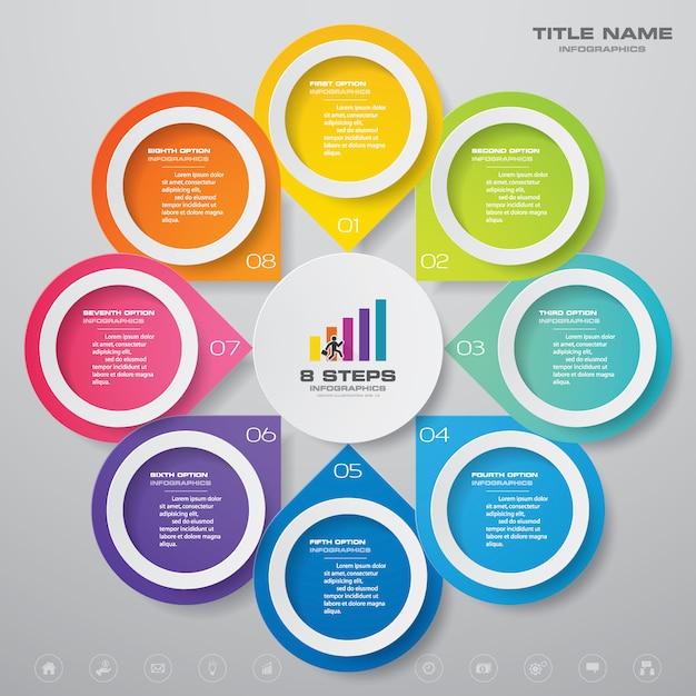 Diagramme de processus simple et modifiable en 8 étapes. eps 10. Vecteur Premium