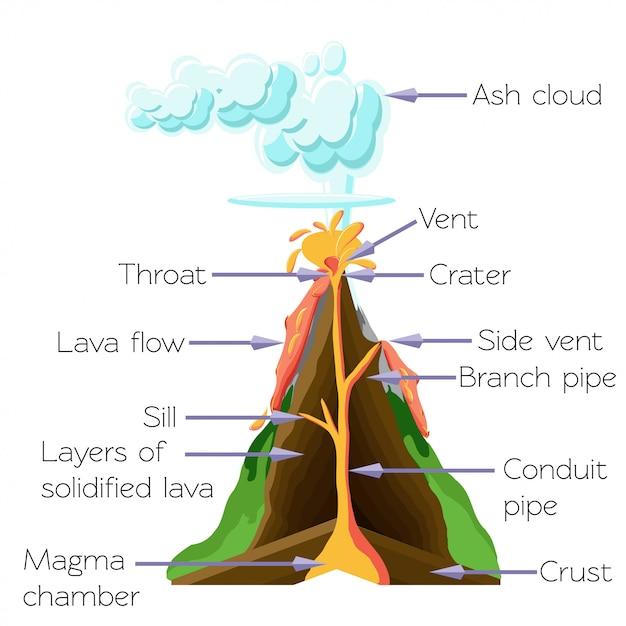 Diagramme de section du volcan cros isolé sur fond blanc. Vecteur Premium