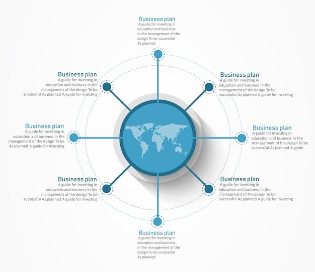 Diagramme utilisé dans la conception ou l'éducation il y a huit étapes ou niveaux. Vecteur Premium