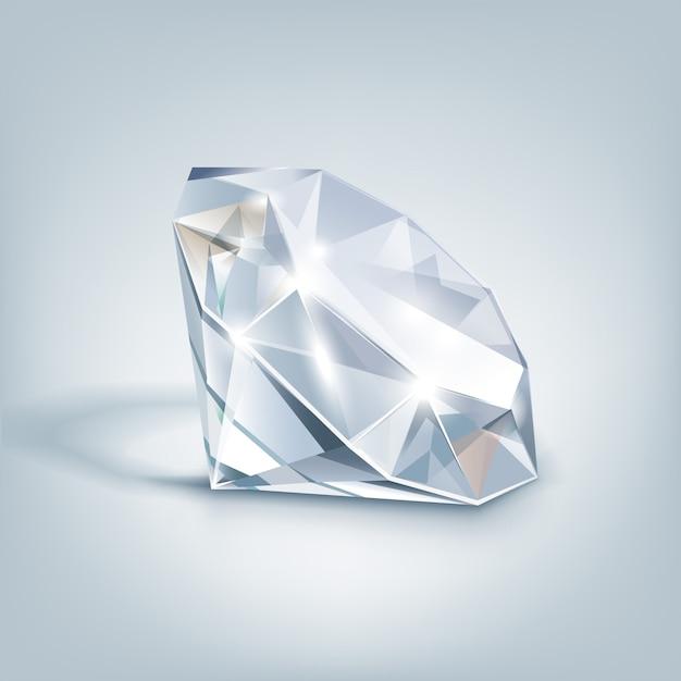 Diamant Clair Brillant Blanc Close Up Isolé Sur Gris Vecteur Premium