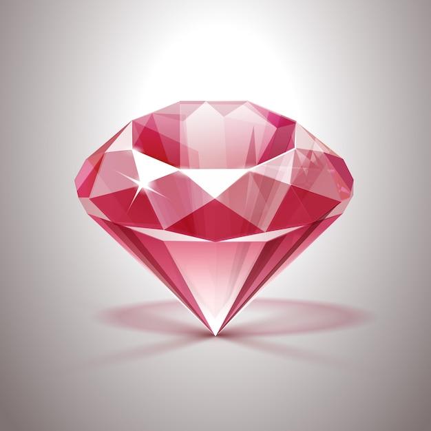 Diamant Clair Brillant Rose Gros Plan Isolé Vecteur Premium