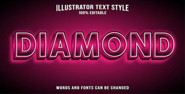 Diamant Effet Texte Modifiable Vecteur Premium