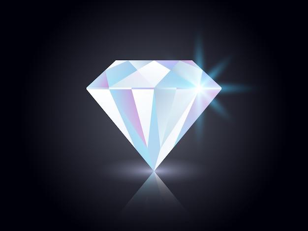 Diamant Sur Fond Sombre. Vecteur Premium