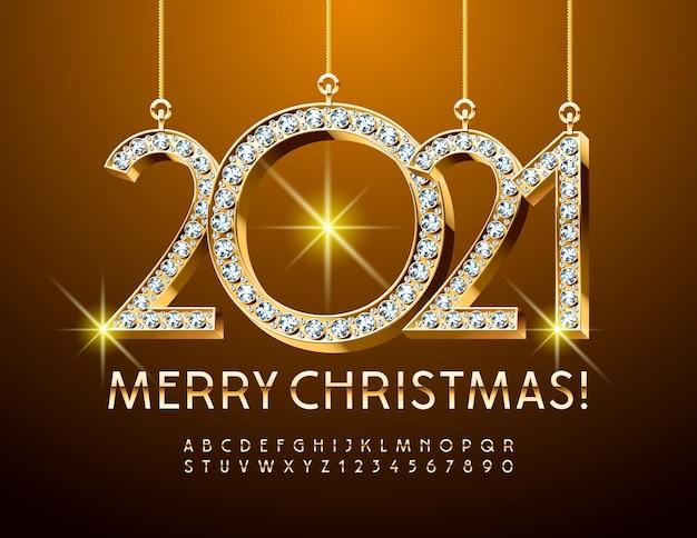 Diamant Joyeux Noël 2021. Golde Alphabet Letters And Numbers. Police Brillante Vecteur Premium