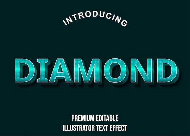 Diamant - Style D'effet De Texte Turquoise 3d Vecteur Premium