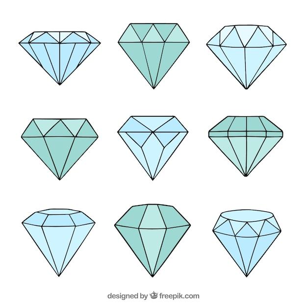 Diamants Dessinés à La Main Vecteur Premium