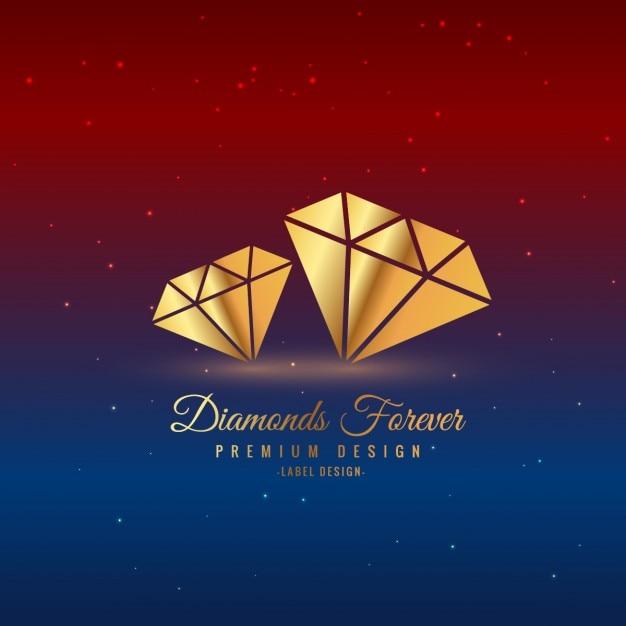 Diamants Or étiquette Vecteur gratuit