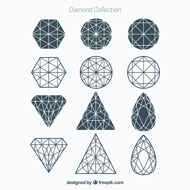 Diamond collection géométrique Vecteur gratuit