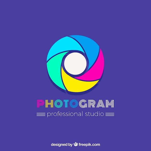Diaphragme Photographie Logo En Couleurs Vecteur gratuit