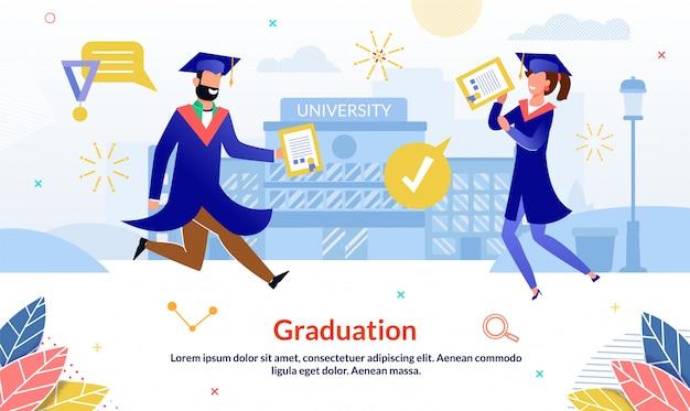 Diapositive d'événement de remise des diplômes Vecteur Premium