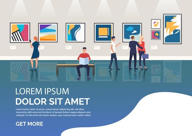 Diapositive avec des visiteurs de l'illustration d'une galerie d'art Vecteur gratuit