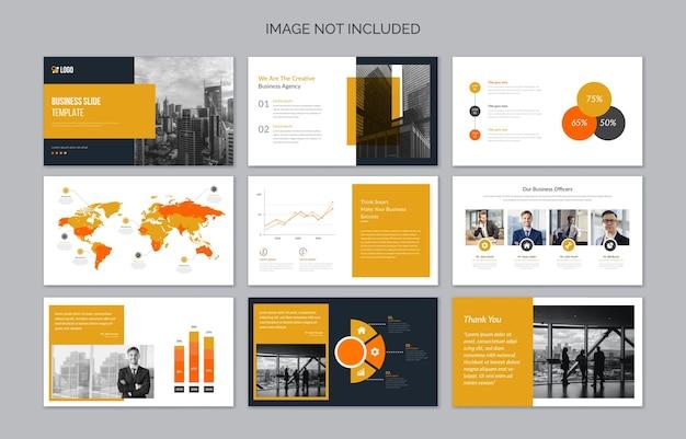 Diapositives De Présentation D'entreprise Minimales Avec Des éléments Infographiques Vecteur Premium