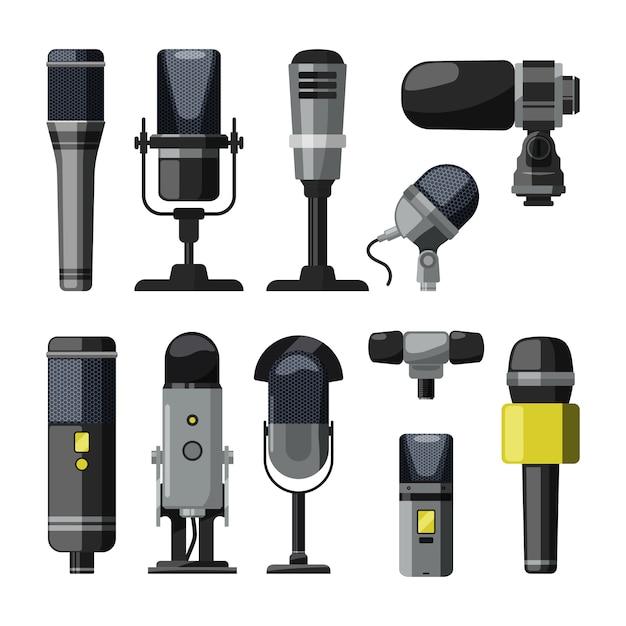 Dictaphone, Microphone Et Autres Outils Professionnels Pour Journalistes Et Conférenciers Vecteur Premium