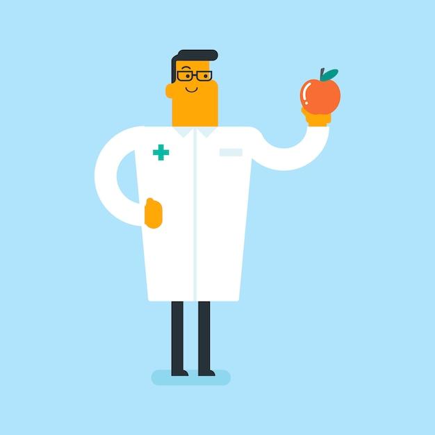 Diététicien blanc caucasien offrant des pommes saines. Vecteur Premium