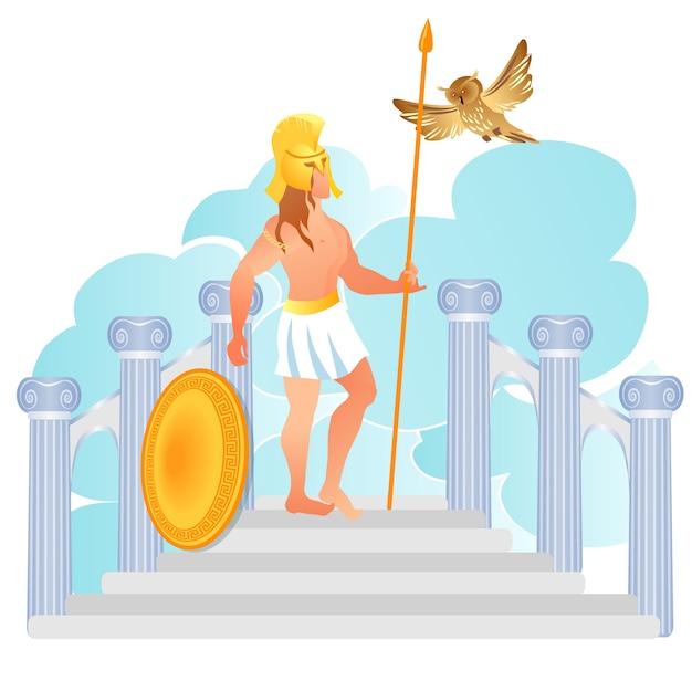 Dieu grec de la guerre ares ou mars fils de zeus et d'héra Vecteur Premium