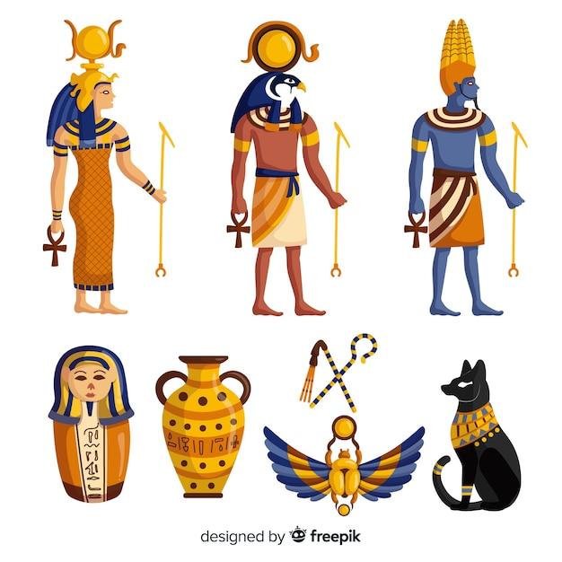 Dieux et symboles de l'egypte Vecteur gratuit
