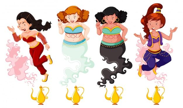 Différent De Genie Girl Magic Lantern Ou Lampe Aladdin En Couleur Et Silhouette Sur Fond Blanc Vecteur gratuit