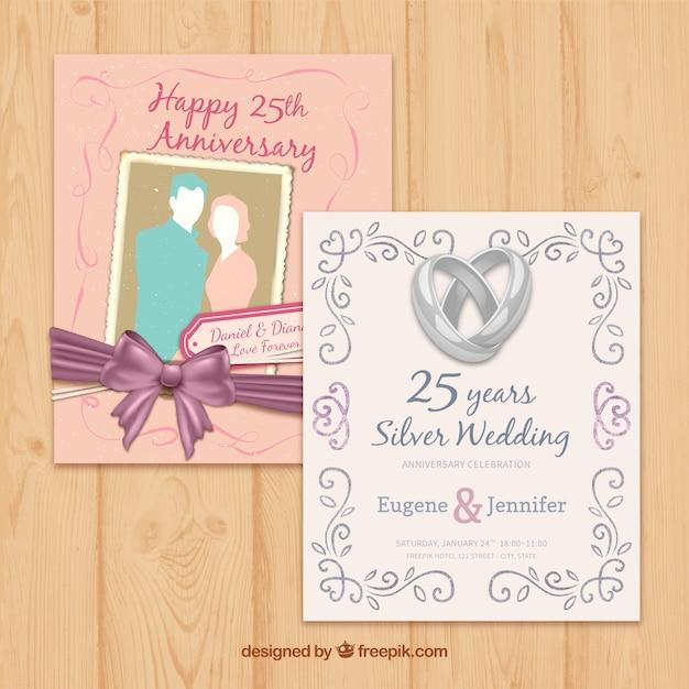 Différentes Cartes Anniversaire De Mariage Vecteur gratuit