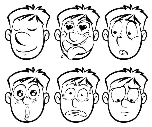 Différentes expressions faciales sur l'homme Vecteur gratuit