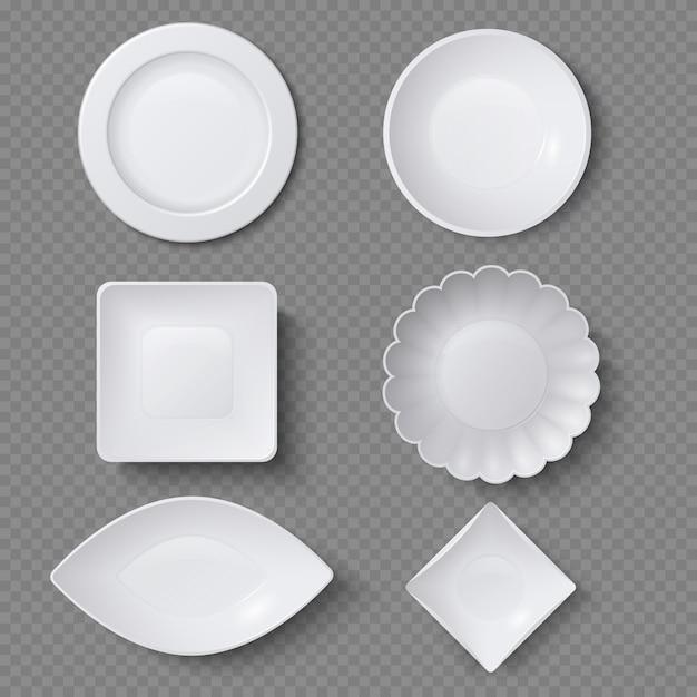 Différentes formes d'assiettes d'aliments réalistes, plats et bols vector ensemble. assiette plate pour restaurant, vide ustensile et illustration de la vaisselle Vecteur Premium