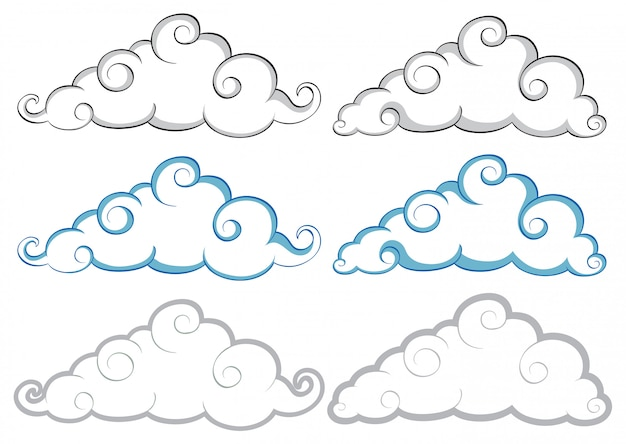 Différentes formes de nuages sur fond blanc Vecteur gratuit