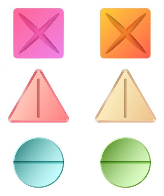 Différentes Formes De Pilules Médicinales Vecteur gratuit